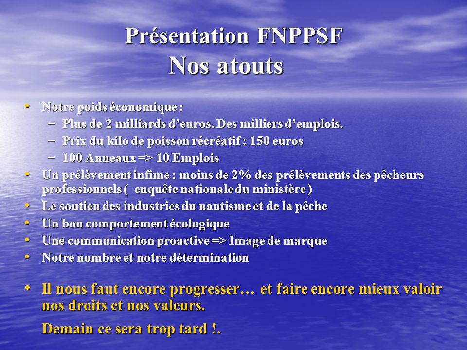Présentation FNPPSF A quoi servent vos 11 euros Présentation FNPPSF A quoi servent vos 11 euros Revue «Pêche plaisance » : Revue «Pêche plaisance » : 4 numéros à 1,5 euros => 6 euros.