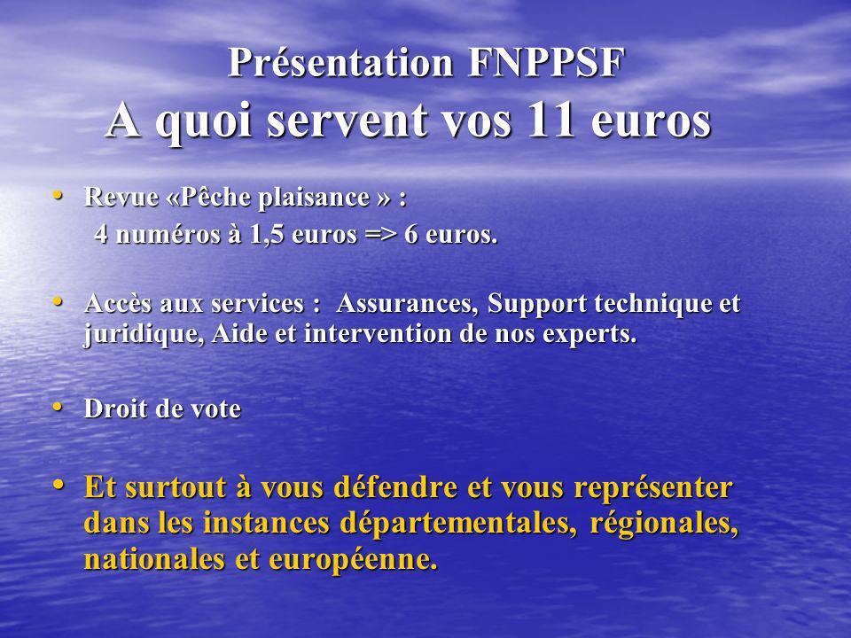 Présentation FNPPSF A quoi servent vos 11 euros Présentation FNPPSF A quoi servent vos 11 euros Revue «Pêche plaisance » : Revue «Pêche plaisance » :