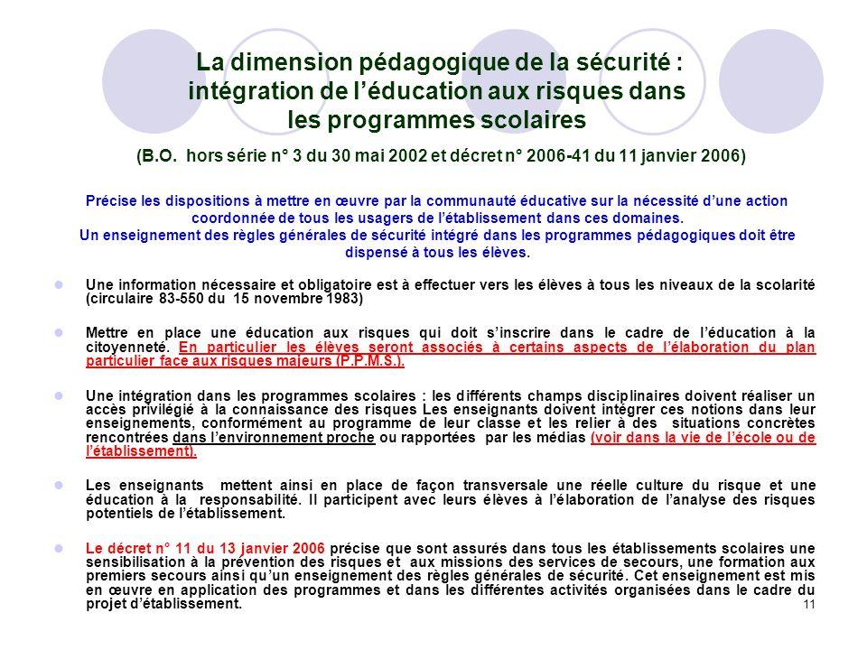 11 La dimension pédagogique de la sécurité : intégration de léducation aux risques dans les programmes scolaires (B.O. hors série n° 3 du 30 mai 2002
