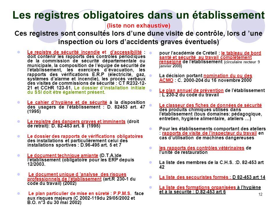 12 Les registres obligatoires dans un établissement (liste non exhaustive) Ces registres sont consultés lors dune dune visite de contrôle, lors d une