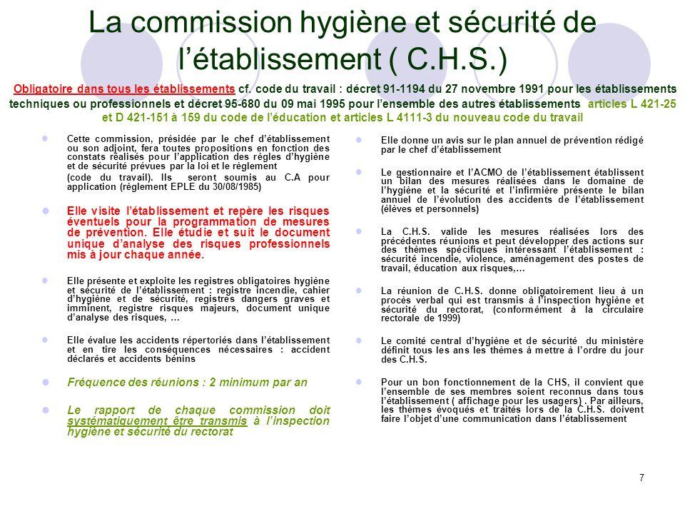 7 La commission hygiène et sécurité de létablissement ( C.H.S.) Obligatoire dans tous les établissements cf. code du travail : décret 91-1194 du 27 no