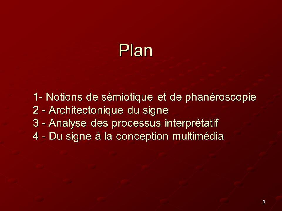 2 1- Notions de sémiotique et de phanéroscopie 2 - Architectonique du signe 3 - Analyse des processus interprétatif 4 - Du signe à la conception multi