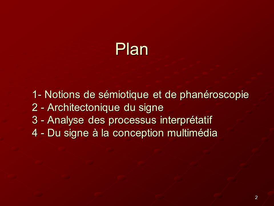 2 1- Notions de sémiotique et de phanéroscopie 2 - Architectonique du signe 3 - Analyse des processus interprétatif 4 - Du signe à la conception multi