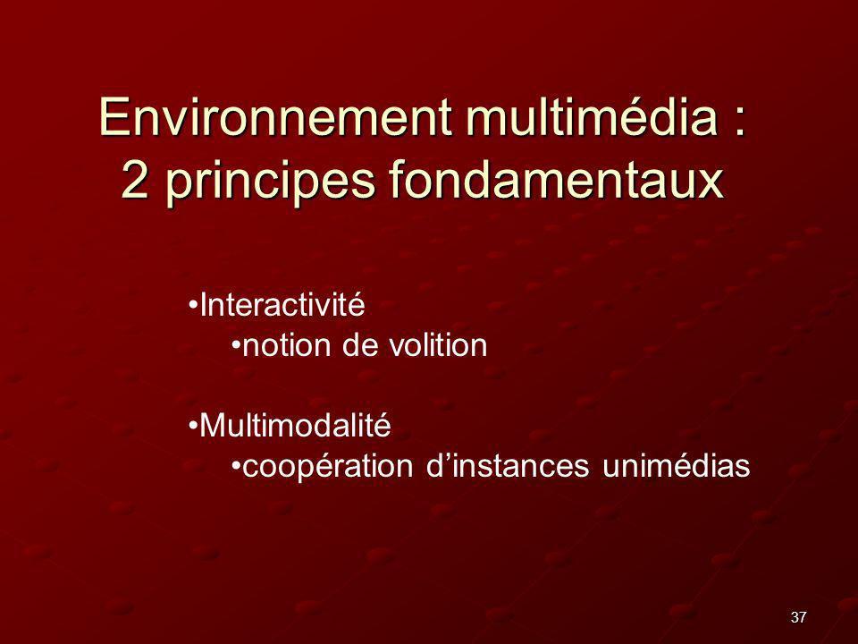 37 Environnement multimédia : 2 principes fondamentaux Interactivité notion de volition Multimodalité coopération dinstances unimédias