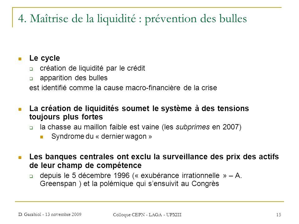 D. Garabiol - 13 novembre 2009 Colloque CEPN - LAGA - UPXIII 15 4. Maîtrise de la liquidité : prévention des bulles Le cycle création de liquidité par