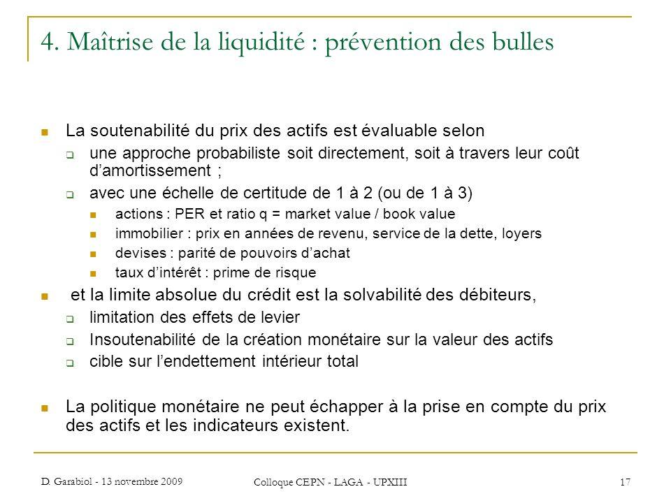 D. Garabiol - 13 novembre 2009 Colloque CEPN - LAGA - UPXIII 17 4. Maîtrise de la liquidité : prévention des bulles La soutenabilité du prix des actif