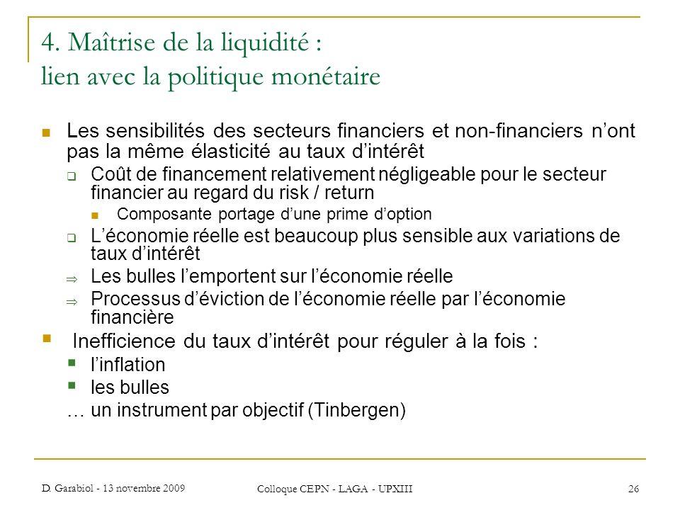 D. Garabiol - 13 novembre 2009 Colloque CEPN - LAGA - UPXIII 26 4. Maîtrise de la liquidité : lien avec la politique monétaire Les sensibilités des se