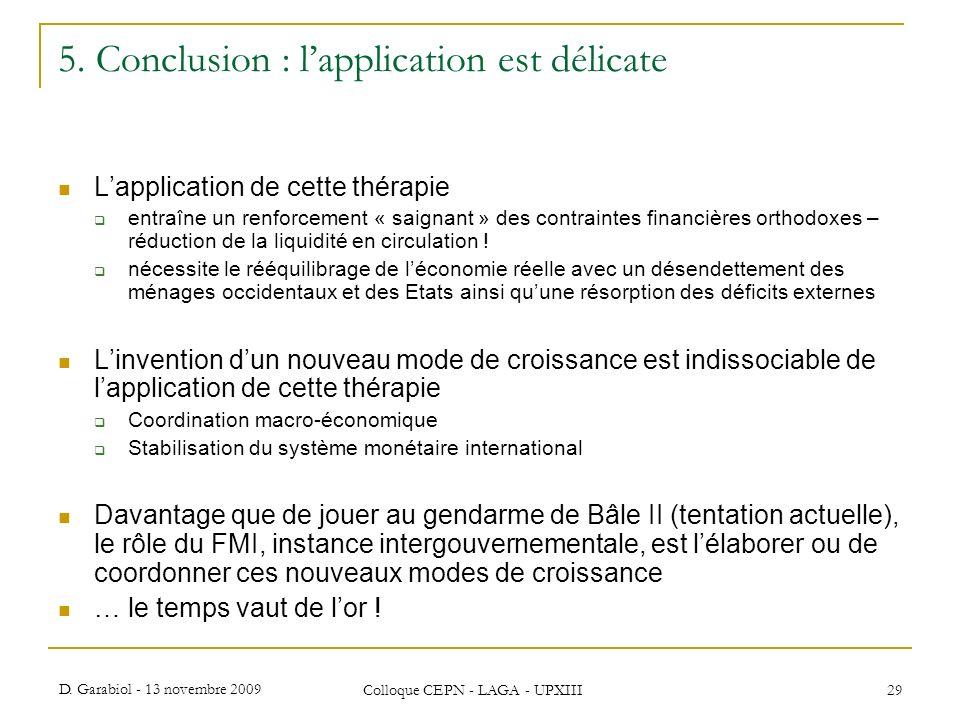D. Garabiol - 13 novembre 2009 Colloque CEPN - LAGA - UPXIII 29 5. Conclusion : lapplication est délicate Lapplication de cette thérapie entraîne un r