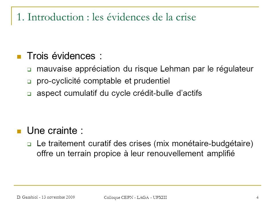 D. Garabiol - 13 novembre 2009 Colloque CEPN - LAGA - UPXIII 4 1. Introduction : les évidences de la crise Trois évidences : mauvaise appréciation du
