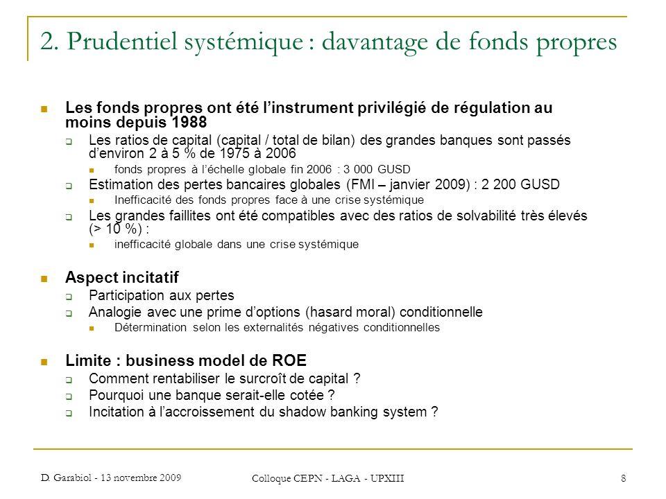 D. Garabiol - 13 novembre 2009 Colloque CEPN - LAGA - UPXIII 8 2. Prudentiel systémique : davantage de fonds propres Les fonds propres ont été linstru