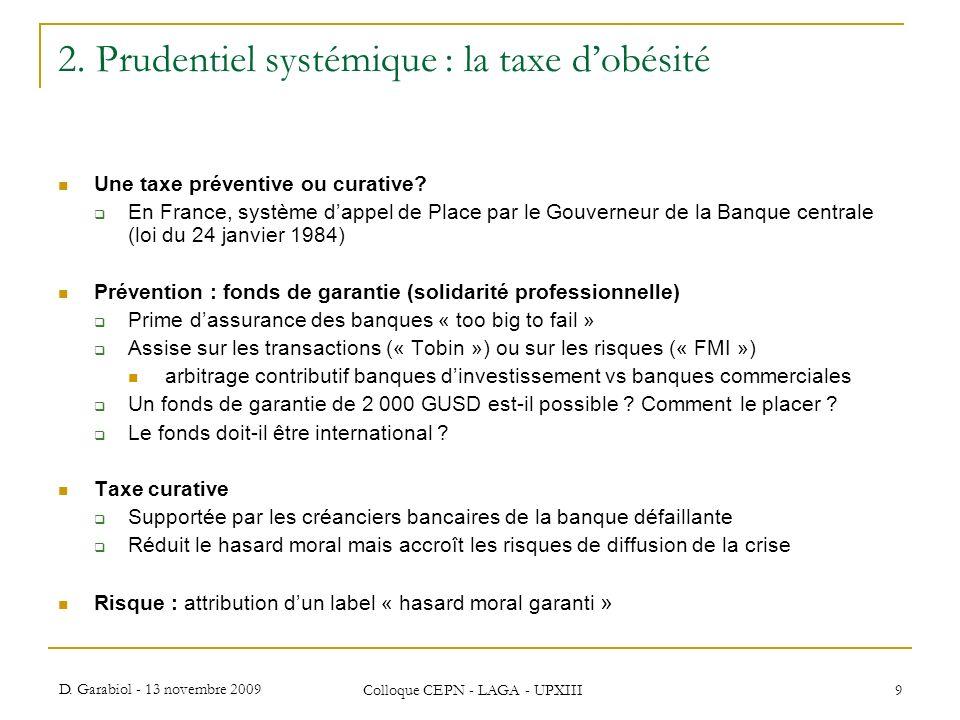 D. Garabiol - 13 novembre 2009 Colloque CEPN - LAGA - UPXIII 9 2. Prudentiel systémique : la taxe dobésité Une taxe préventive ou curative? En France,