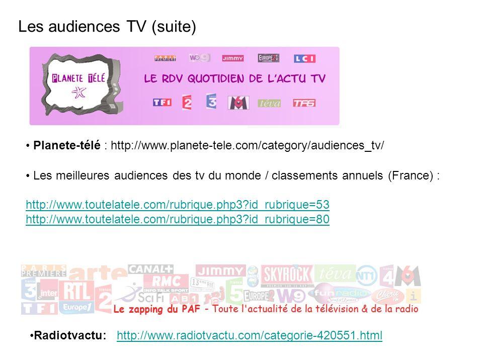 Planete-télé : http://www.planete-tele.com/category/audiences_tv/ Les audiences TV (suite) Les meilleures audiences des tv du monde / classements annu