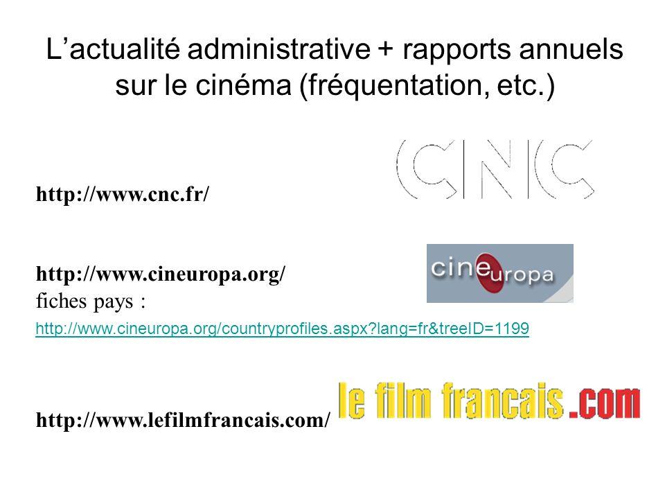 Lactualité administrative + rapports annuels sur le cinéma (fréquentation, etc.) http://www.cnc.fr/ http://www.cineuropa.org/ fiches pays : http://www