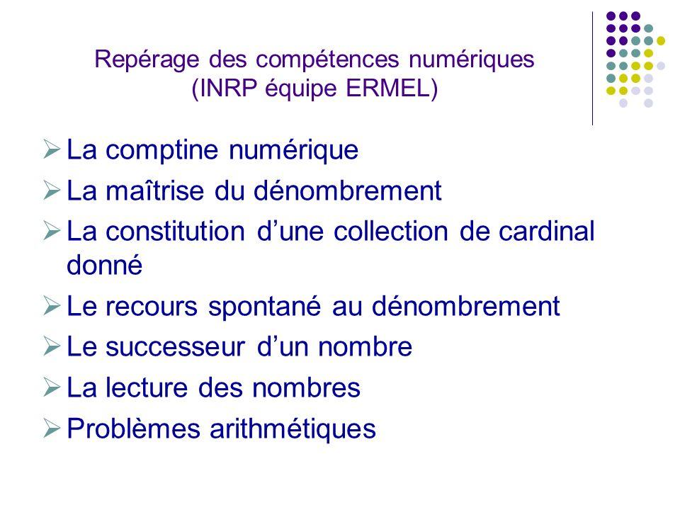 Repérage des compétences numériques (INRP équipe ERMEL) La comptine numérique La maîtrise du dénombrement La constitution dune collection de cardinal