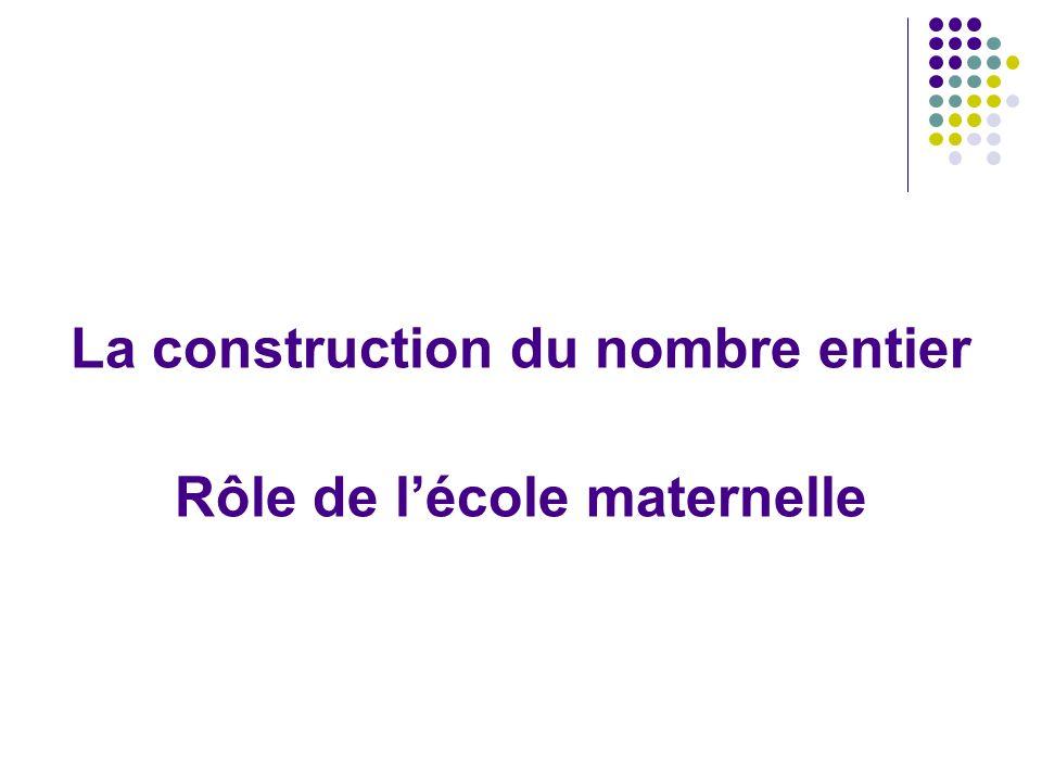 La construction du nombre entier Rôle de lécole maternelle