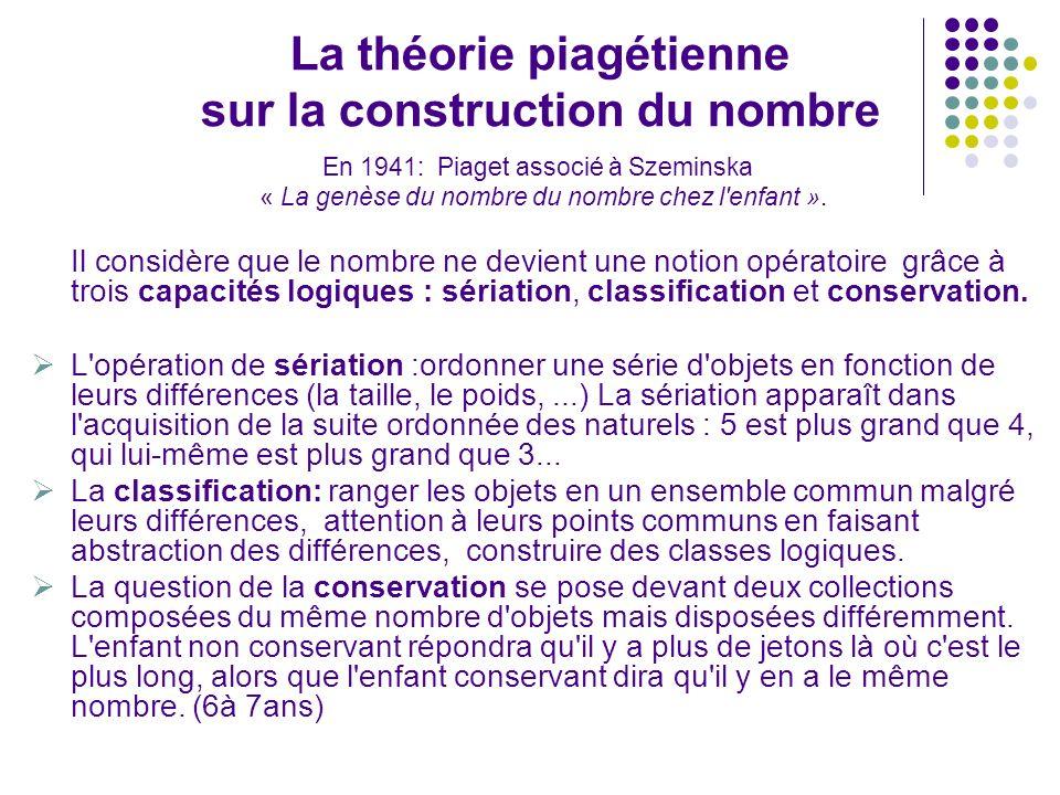 La théorie piagétienne sur la construction du nombre En 1941: Piaget associé à Szeminska « La genèse du nombre du nombre chez l'enfant ». Il considère