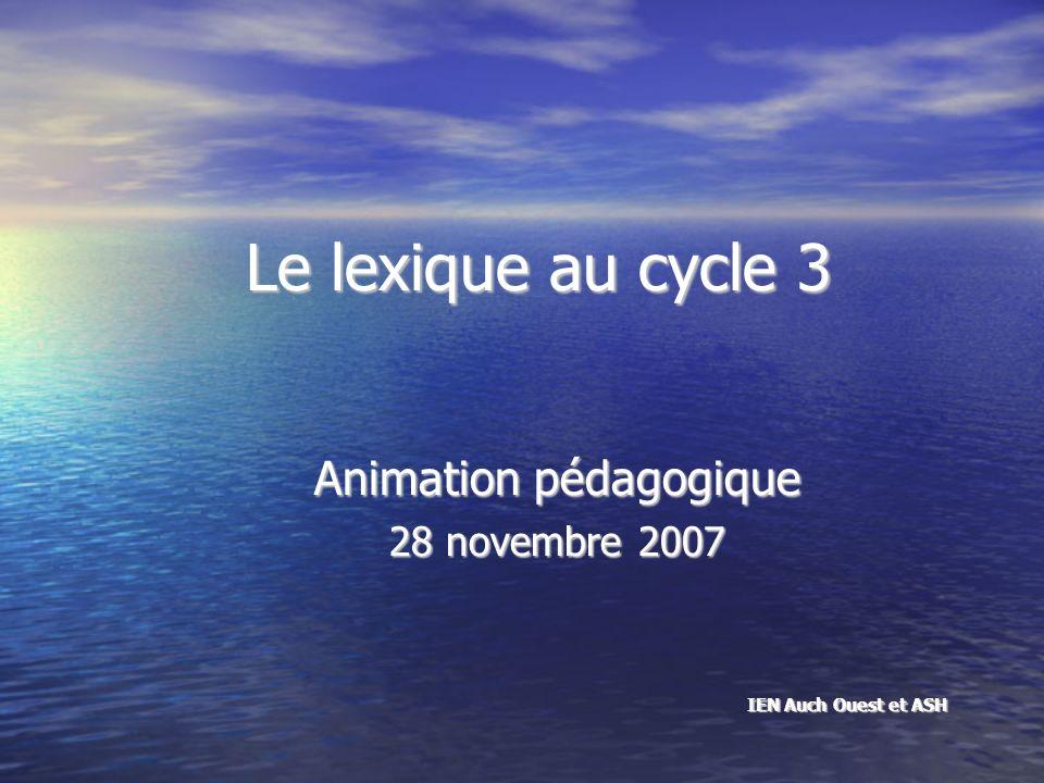 Le lexique au cycle 3 Animation pédagogique 28 novembre 2007 IEN Auch Ouest et ASH