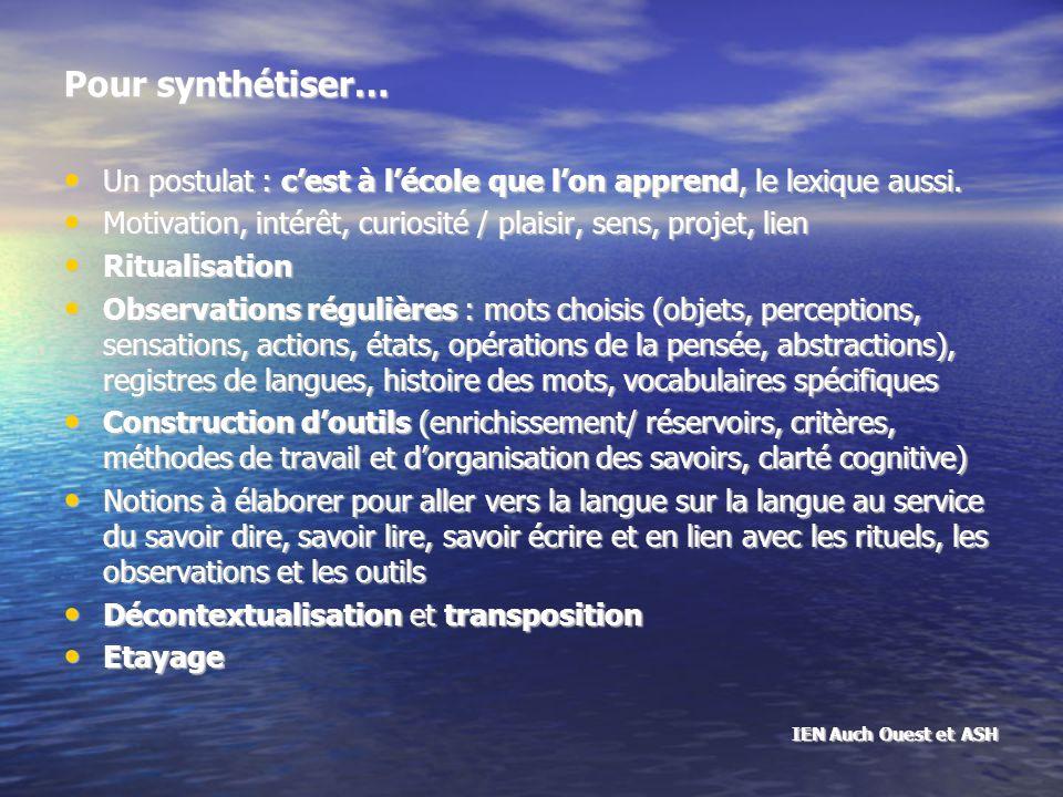 Pour synthétiser… Un postulat : cest à lécole que lon apprend, le lexique aussi.