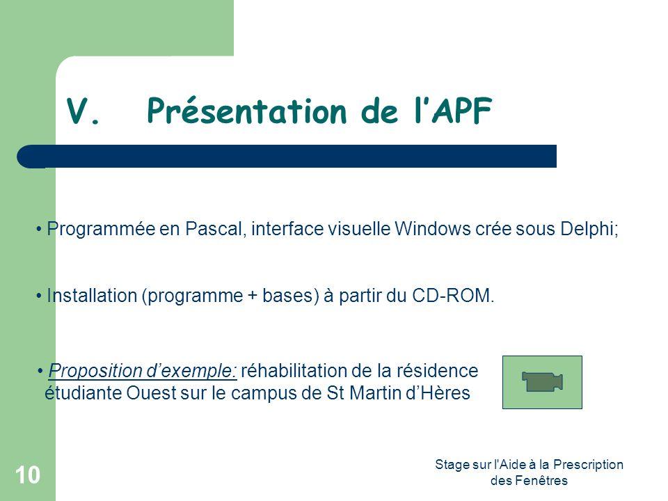 Stage sur l'Aide à la Prescription des Fenêtres 10 V. Présentation de lAPF Programmée en Pascal, interface visuelle Windows crée sous Delphi; Installa