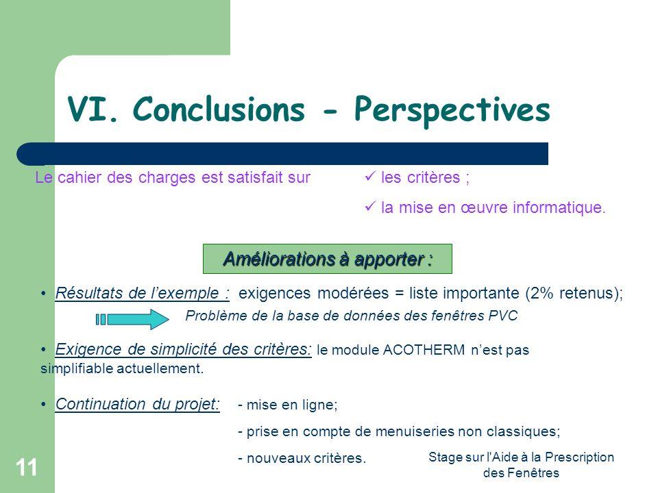 Stage sur l'Aide à la Prescription des Fenêtres 11 VI.Conclusions - Perspectives Le cahier des charges est satisfait sur les critères ; la mise en œuv
