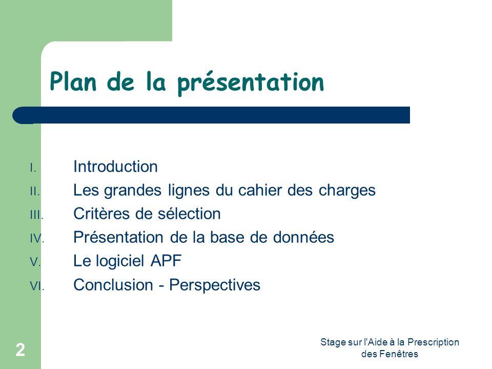 Stage sur l'Aide à la Prescription des Fenêtres 2 Plan de la présentation I. Introduction II. Les grandes lignes du cahier des charges III. Critères d