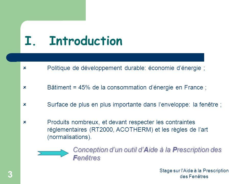 Stage sur l'Aide à la Prescription des Fenêtres 3 I.Introduction Politique de développement durable: économie dénergie ; Bâtiment = 45% de la consomma