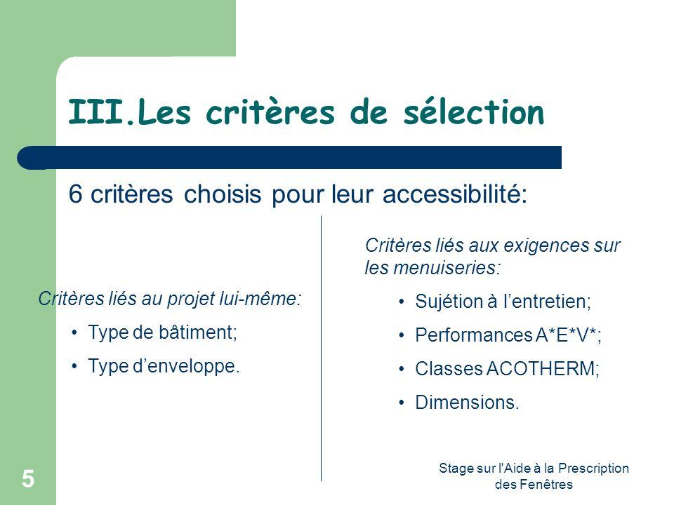 Stage sur l'Aide à la Prescription des Fenêtres 5 III.Les critères de sélection 6 critères choisis pour leur accessibilité: Critères liés au projet lu