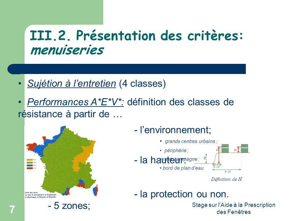 Stage sur l'Aide à la Prescription des Fenêtres 7 III.2. Présentation des critères: menuiseries Sujétion à lentretien (4 classes) Performances A*E*V*: