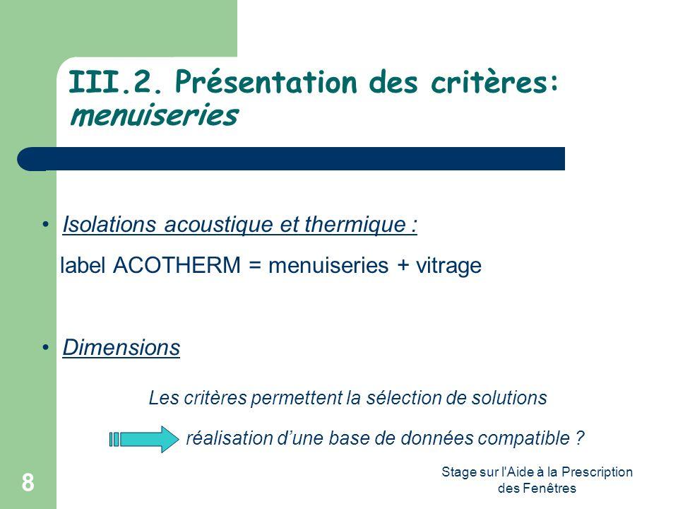 Stage sur l'Aide à la Prescription des Fenêtres 8 III.2. Présentation des critères: menuiseries Isolations acoustique et thermique : label ACOTHERM =
