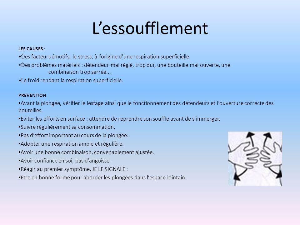 Lessoufflement LES CAUSES : Des facteurs émotifs, le stress, à lorigine dune respiration superficielle Des problèmes matériels : détendeur mal re