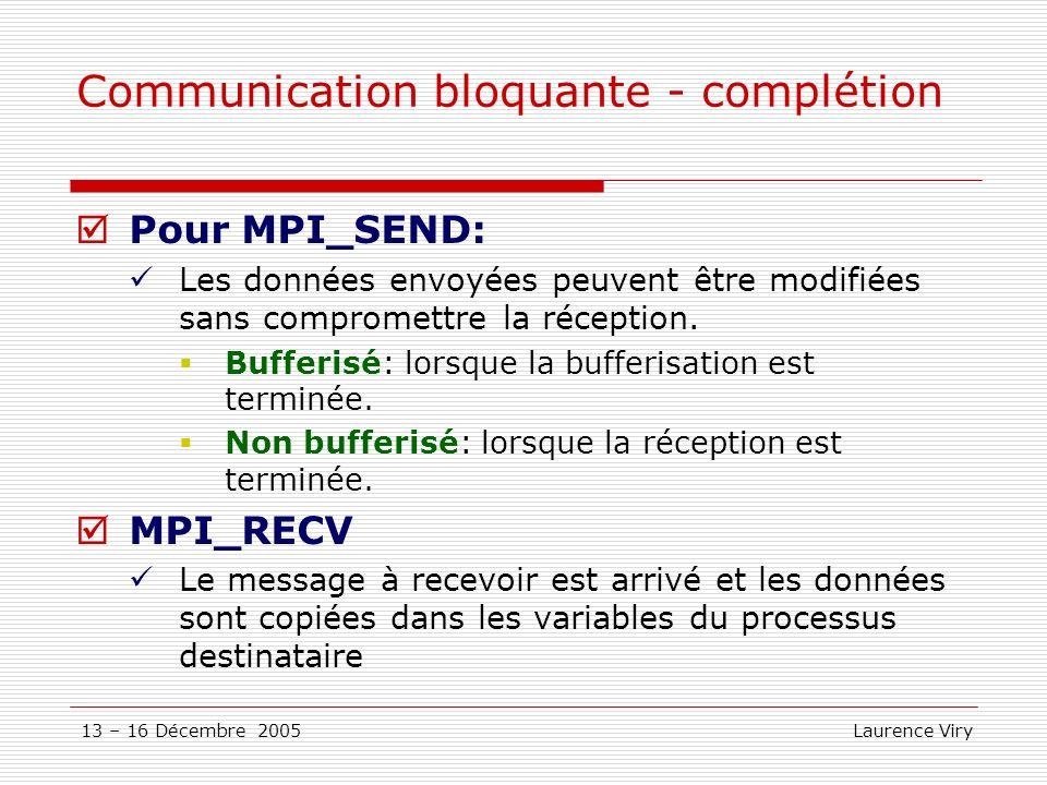 13 – 16 Décembre 2005 Laurence Viry Communication bloquante - complétion Pour MPI_SEND: Les données envoyées peuvent être modifiées sans compromettre