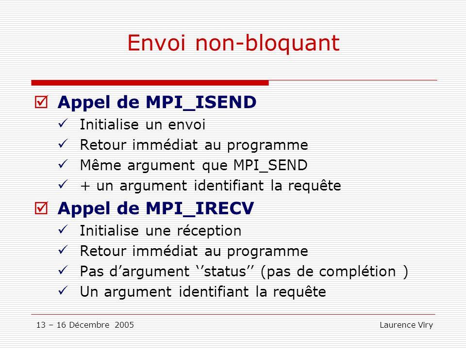 13 – 16 Décembre 2005 Laurence Viry Envoi non-bloquant Appel de MPI_ISEND Initialise un envoi Retour immédiat au programme Même argument que MPI_SEND