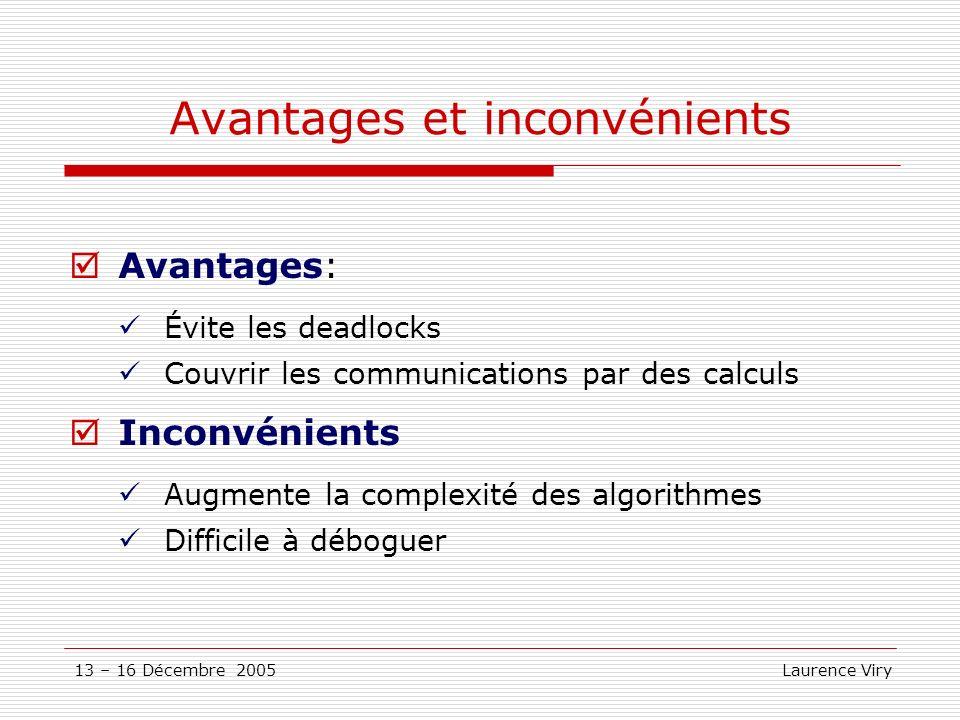 13 – 16 Décembre 2005 Laurence Viry Avantages et inconvénients Avantages: Évite les deadlocks Couvrir les communications par des calculs Inconvénients