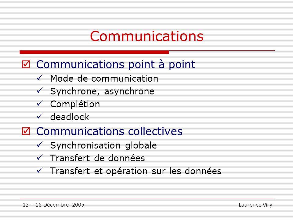 13 – 16 Décembre 2005 Laurence Viry Communications Communications point à point Mode de communication Synchrone, asynchrone Complétion deadlock Commun