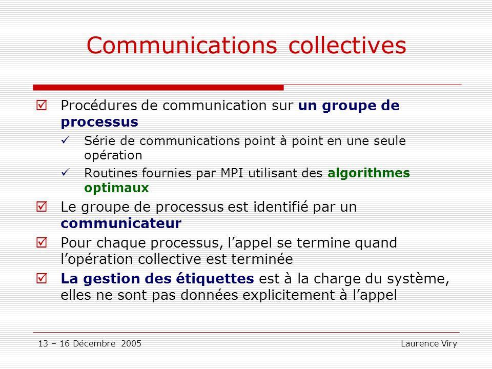 13 – 16 Décembre 2005 Laurence Viry Communications collectives Procédures de communication sur un groupe de processus Série de communications point à