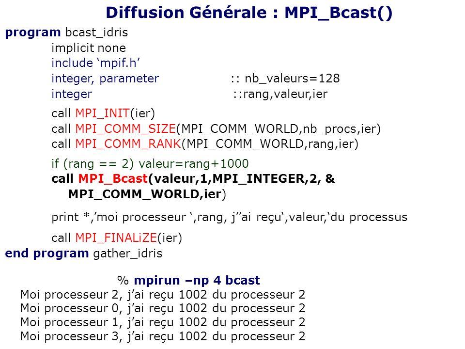 program bcast_idris implicit none include mpif.h integer, parameter :: nb_valeurs=128 integer ::rang,valeur,ier call MPI_INIT(ier) call MPI_COMM_SIZE(