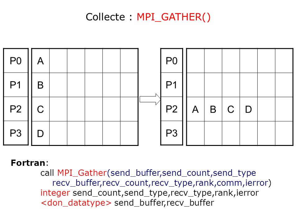 A B C D ABCD P0 P1 P2 P3 P0 P1 P2 P3 Collecte : MPI_GATHER() Fortran: call MPI_Gather(send_buffer,send_count,send_type recv_buffer,recv_count,recv_typ