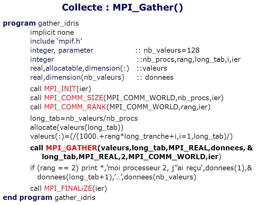 program gather_idris implicit none include mpif.h integer, parameter :: nb_valeurs=128 integer ::nb_procs,rang,long_tab,i,ier real,allocatable,dimensi