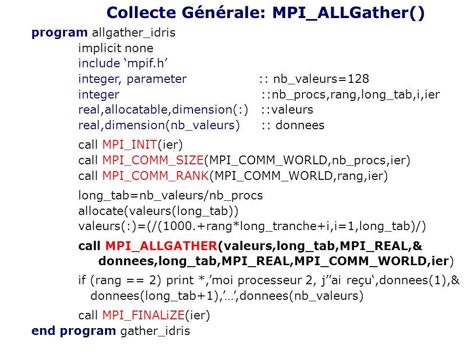 program allgather_idris implicit none include mpif.h integer, parameter :: nb_valeurs=128 integer ::nb_procs,rang,long_tab,i,ier real,allocatable,dime
