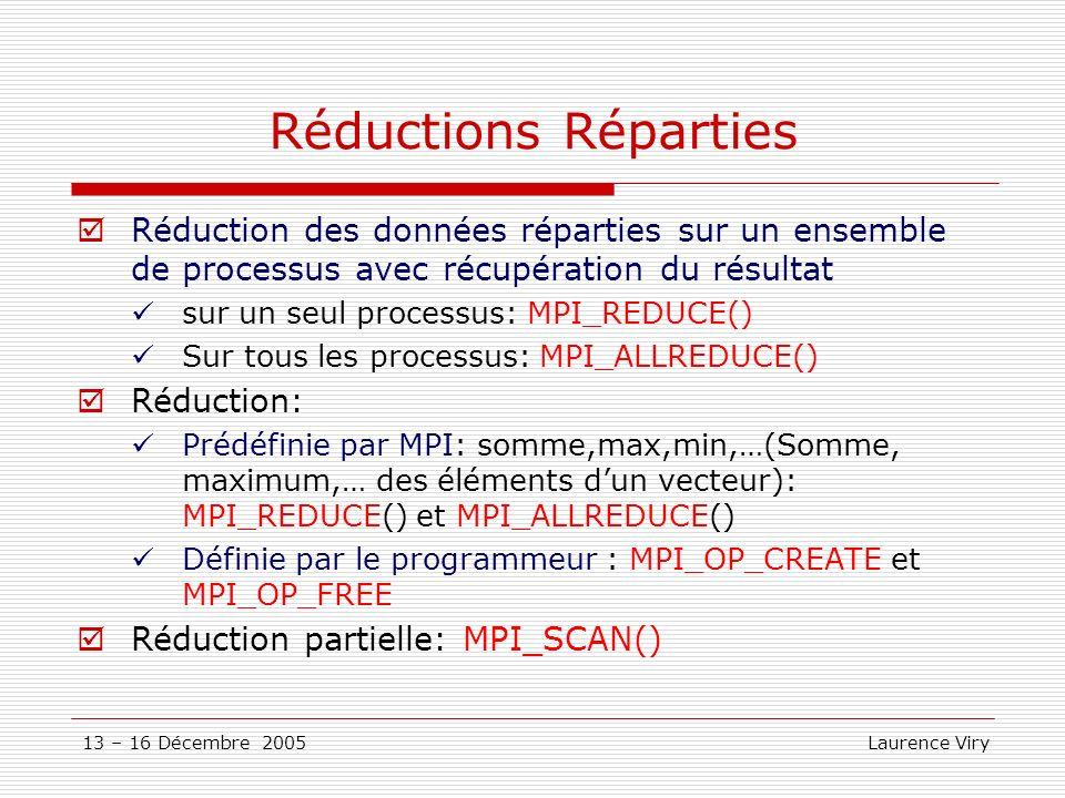 13 – 16 Décembre 2005 Laurence Viry Réductions Réparties Réduction des données réparties sur un ensemble de processus avec récupération du résultat su