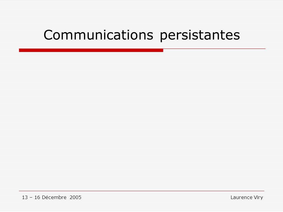 13 – 16 Décembre 2005 Laurence Viry Communications persistantes