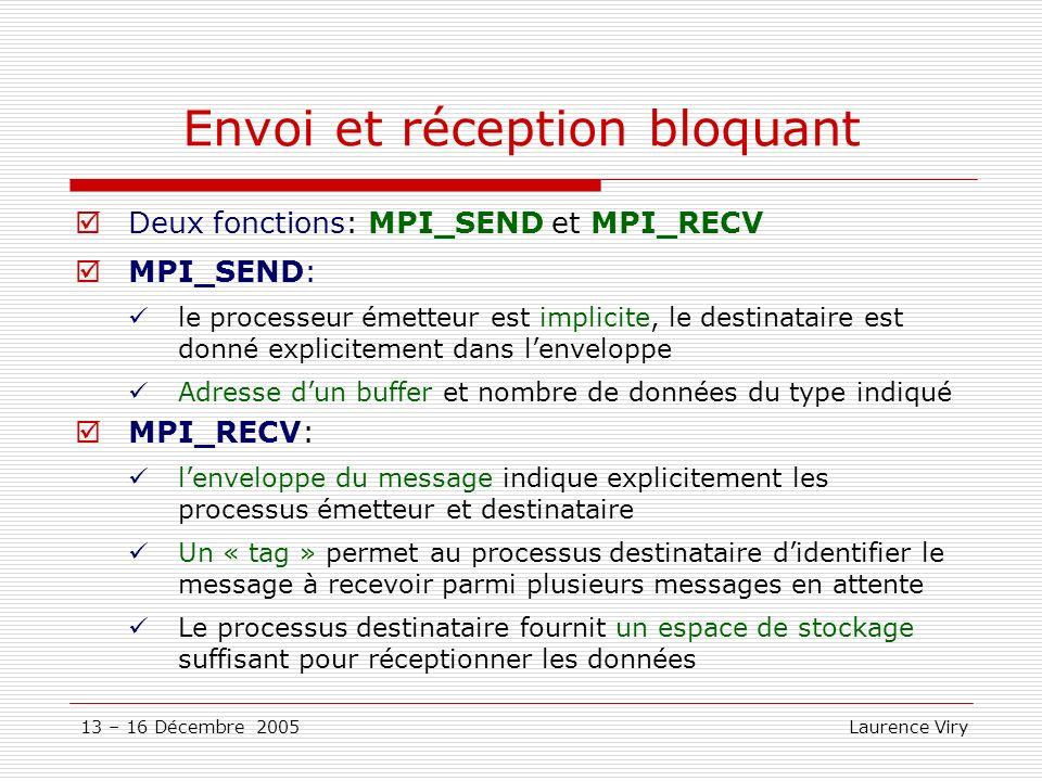 13 – 16 Décembre 2005 Laurence Viry Communications persistantes Contexte: boucler sur un envoi ou une réception de message ou la valeur des données manipulées changent mais ni ladresse, ni le type Utilisation Créer un schéma persistant de communication à lextérieur de la boucle Envoi standard: MPI_SEND_INIT() Envoi synchrone: MPI_SSEND_INIT() Envoi bufferisé: MPI_BSEND_INIT() Réception standard: MPI_RECV_INIT() Activer la requête denvoi ou de réception à lintérieur de la boucle: MPI_START(requette,code) Libérer la requête en fin de boucle: MPI_REQUEST_FREE(requette, code) elle ne sera libérée quune fois quelle sera réellement terminée