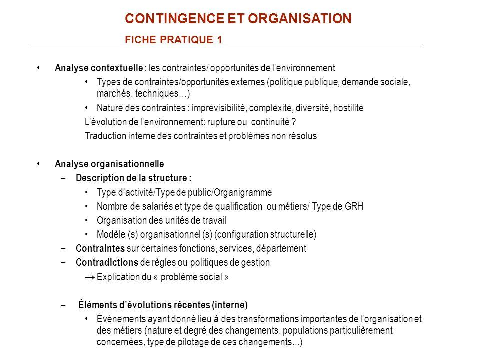 Analyse contextuelle : les contraintes/ opportunités de lenvironnement Types de contraintes/opportunités externes (politique publique, demande sociale