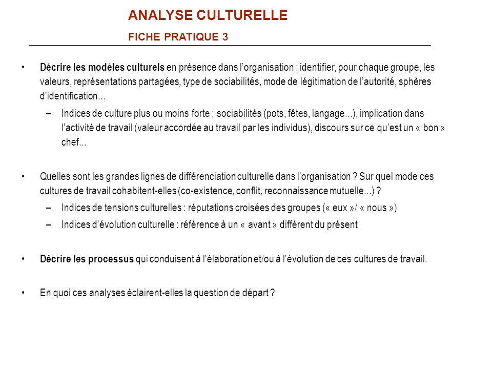 Décrire les modèles culturels en présence dans lorganisation : identifier, pour chaque groupe, les valeurs, représentations partagées, type de sociabi