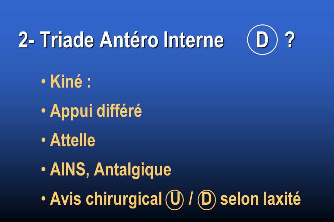 2- Triade Antéro InterneD ? Kiné : Appui différé Attelle AINS, Antalgique Avis chirurgical U / D selon laxité