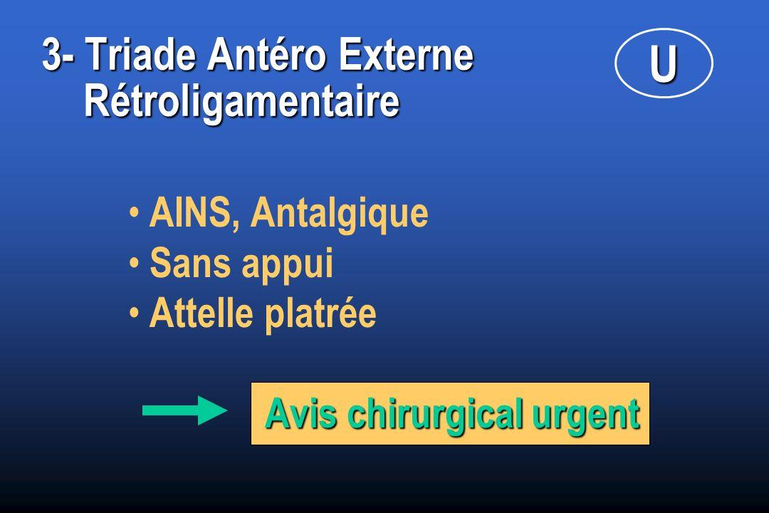 3- Triade Antéro Externe Rétroligamentaire AINS, Antalgique Sans appui Attelle platrée Avis chirurgical urgent U