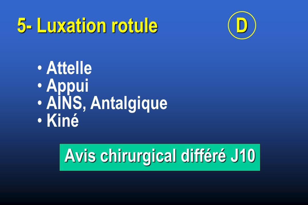 Attelle Appui AINS, Antalgique Kiné Avis chirurgical différé J10 5- Luxation rotuleD