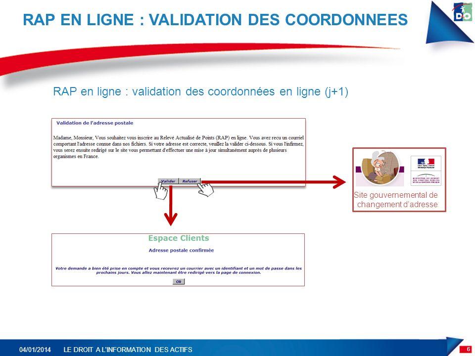 RAP EN LIGNE : VALIDATION DES COORDONNEES 6 04/01/2014LE DROIT A L INFORMATION DES ACTIFS Site gouvernemental de changement dadresse RAP en ligne : validation des coordonnées en ligne (j+1)
