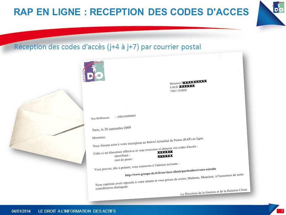 RAP EN LIGNE : RECEPTION DES CODES D ACCES 7 04/01/2014LE DROIT A L INFORMATION DES ACTIFS Réception des codes daccès (j+4 à j+7) par courrier postal xxxxxxxxx