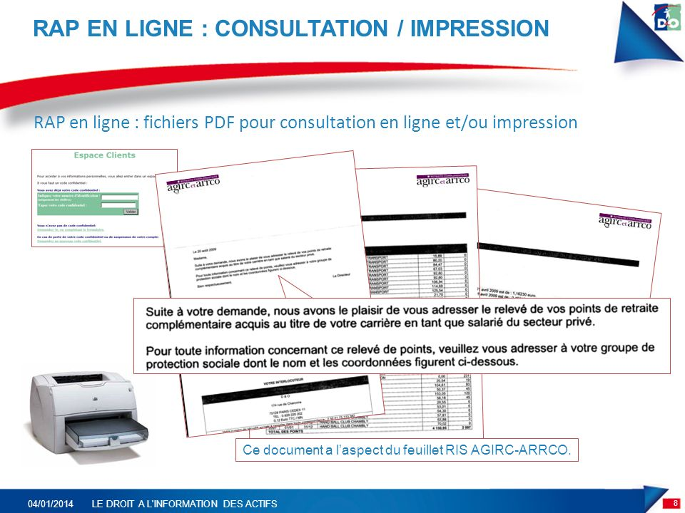 RAP EN LIGNE : CONSULTATION / IMPRESSION 8 04/01/2014LE DROIT A L INFORMATION DES ACTIFS RAP en ligne : fichiers PDF pour consultation en ligne et/ou impression Ce document a laspect du feuillet RIS AGIRC-ARRCO.